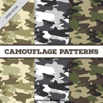 Jogo de três padrões de camuflagem fantásticas