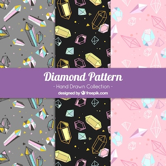 Jogo de três padrões de diamantes desenhados à mão