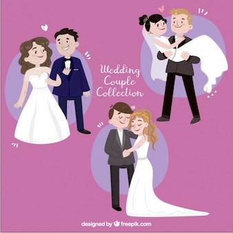 Jogo de três recém-casados desenhados à mão, sorrindo