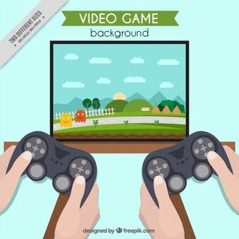 Jogo de vídeo na televisão com dois joysticks