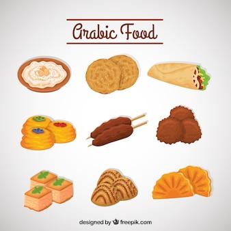 Jogo do delicioso menu de comida árabe