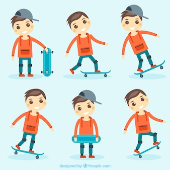 Jogo do menino agradável e skate
