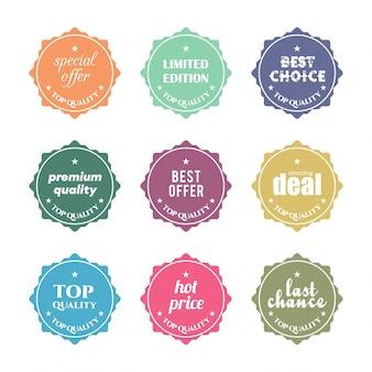 Jogo do projeto plana etiquetas da venda do vetor ilustrações para on-line website promoções produto comercial e site móvel emblemas material de publicidade de impressão