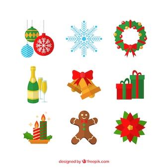 Jogo dos grandes elementos do Natal no estilo plana