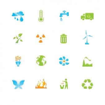 Jogo dos ícones sobre a reciclagem