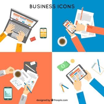 Jogo dos locais de trabalho de negócios em design plano