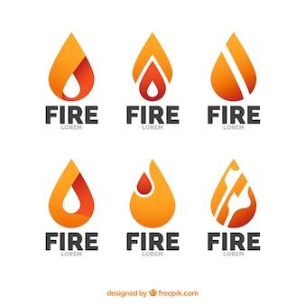 Jogo dos logotipos com chamas abstratas