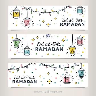 Jogo, mão, desenhado, eid, al, fitr, banners