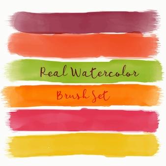 Jogo, real, aquarela, escova, morno, cores