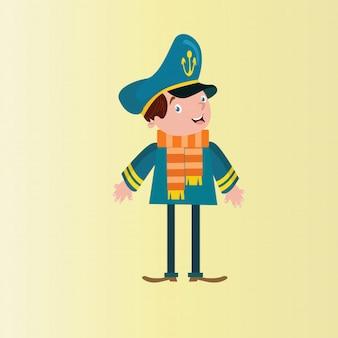 Jovem capitão marinheiro marinheiro marinheiro marinha personagem de desenho animado