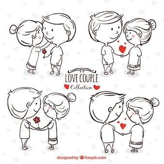 Jovem casal desenhado mão em momentos românticos