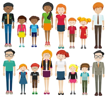 Jovens e idosos na ilustração de fundo branco