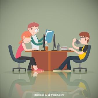 Jovens trabalhadores de escritório