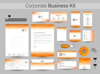 Kit corporativo corporativo em cores brancas e amarelas.