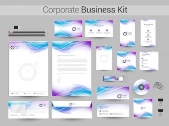 Kit de negócios corporativos com ondas fluentes.