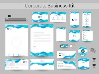 Kit empresarial corporativo com design abstrato.