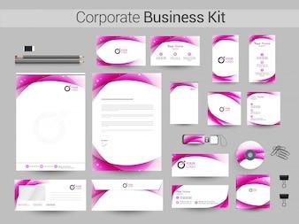 Kit empresarial corporativo com listras abstratas.