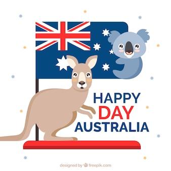Koala bonito e canguru para celebrar o dia de austrália