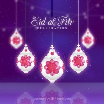 Lanternas brilhantes Eid-al-Fitr fundo