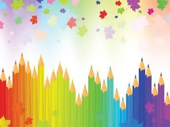 Lápis com queda das folhas de outono colorido