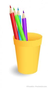 Lápis de cor em caixa de lápis