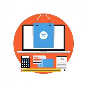 Laptop com um saco azul e outros elementos financeiros
