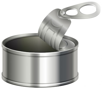 Lata de alumínio com tampa aberta