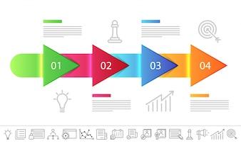 Layout de setas brilhantes da linha de tempo com 4 etapas e ícones configurados.