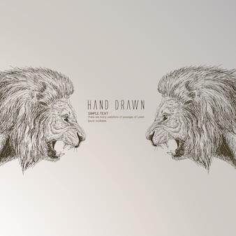Leão desenhado mão
