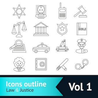 Lei e ícones de justiça coleção