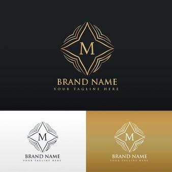 Letra M logotipo do monograma da arte linha dourada
