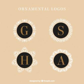 letras maiúsculas logotipos elegantes com círculos ornamentais