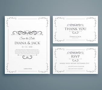 Limpe o convite do casamento thankyou card save the date template design