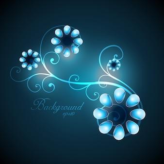 Linda arte floral de cor azul