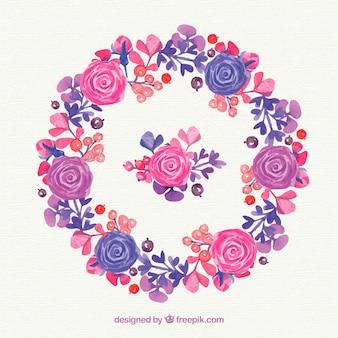 Linda coroa de flores de rosas de aguarela