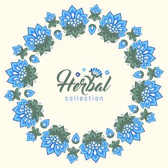 Linda coroa floral azul