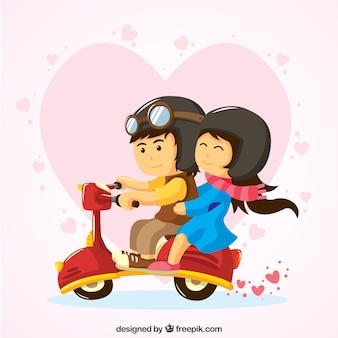 Lindo casal que monta um vespa