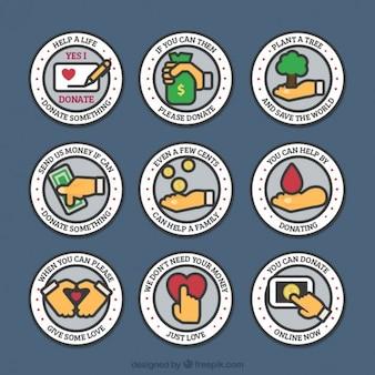 Linear arredondado emblemas caridade
