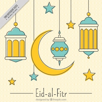 Linear decorativo Eid-al-Fitr fundo
