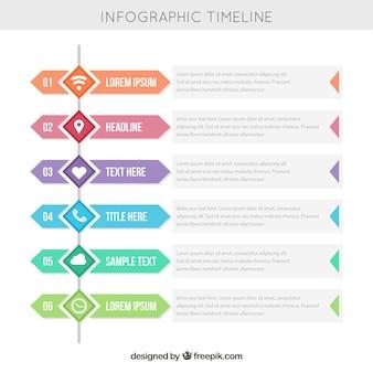 Linha de tempo infográfica encantadora