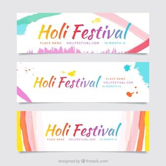 linhas aquarela Holi banners festival