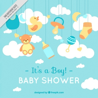 Linhas de fundo com itens do chuveiro de bebê