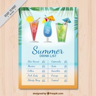 Lista bebida refrescante com folhas de palmeira