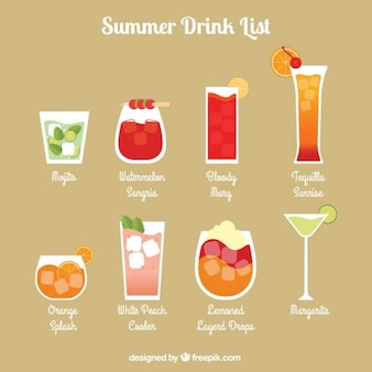 Lista bebida refrescante do verão