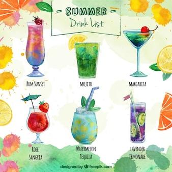Lista de bebida deliciosa de verão