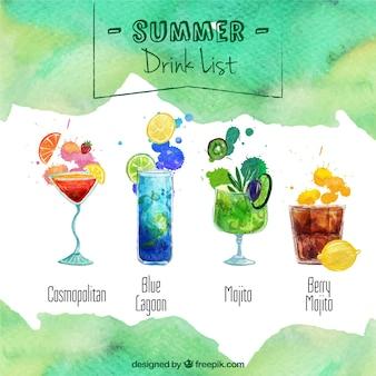 Lista de bebida do verão