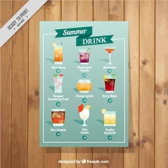 lista de cocktails de verão em um design simples