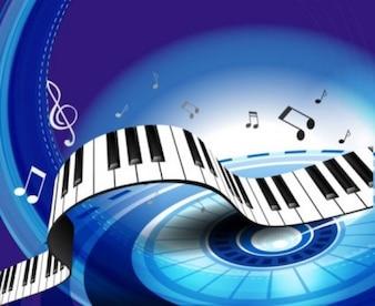 Livre azul branco brilhante luz pontos onda lindo piano de vetor de fundo chave
