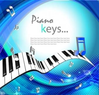 Livre fundo bonito de piano teclas vetor música azul branco brilhante luz onda pontos