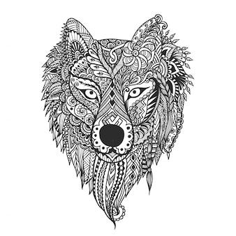 Lobo desenhado mão